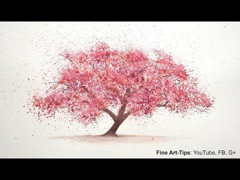 Para técnica de la acuarela de la salpicadura de la flor de cerezo árboles