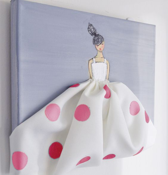 Little princess in polkadots hand painted canvas pink for Diy princess room ideas