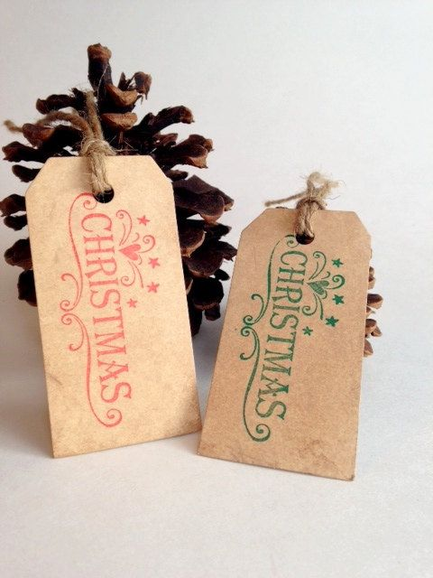 Hand Stamped  Christmas Tags- Variety Set of 10 Aged Tags on Etsy, $8.50
