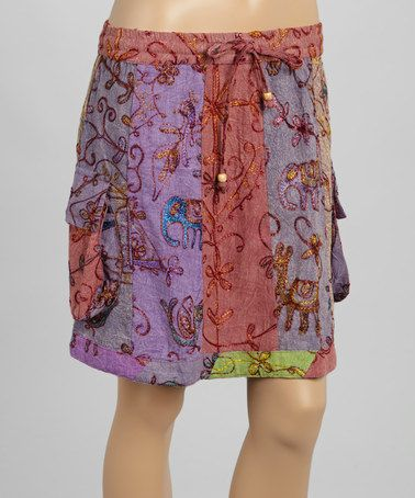 Purple Embroidered Pocket Skirt by Blue Sky, $20 !!  #zulily #zulilyfinds