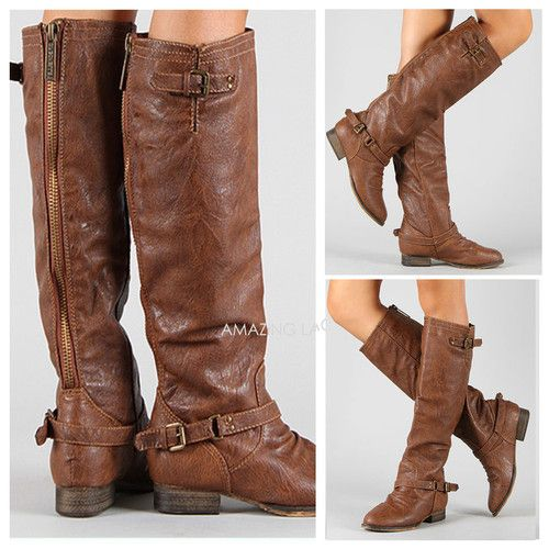 Details About Tan Riding Boots Back Zipper Buckle Strap