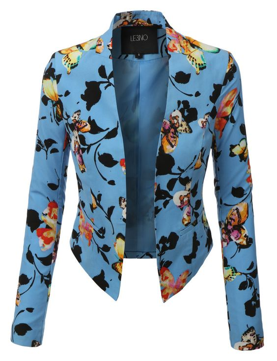 Womens Lightweight Cropped Open Front Floral Blazer | Wardrobes ...