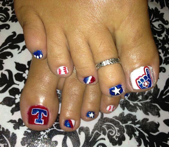 Nail art. Texas rangers