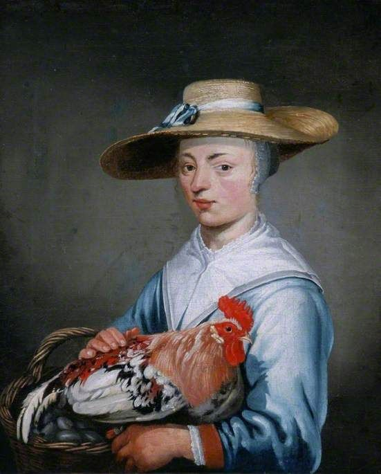 ⍕ Paintings of People & Pets ⍕ Aelbert Cuyp | Woman with a Basket of Eggs and a Cockerel: