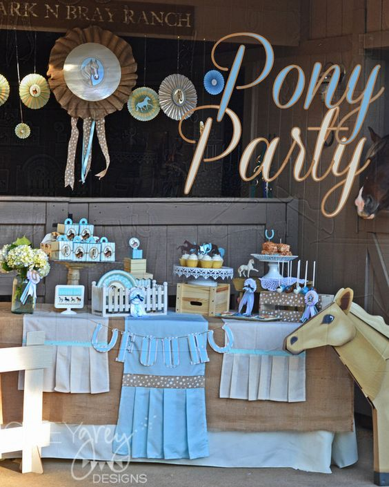 Pony Party - #kidsparty: Party Ideas Kids, Party Ideas Favors, Kids Birthday, Equestrian Horses Party Ideas, Party Decoration, Birthday Party Ideas, Horse Birthday Party Theme, Birthday Ideas