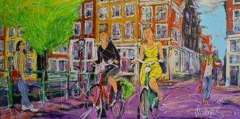 Schilderij modern stad met fietsers 70x140   Schilderijenshop
