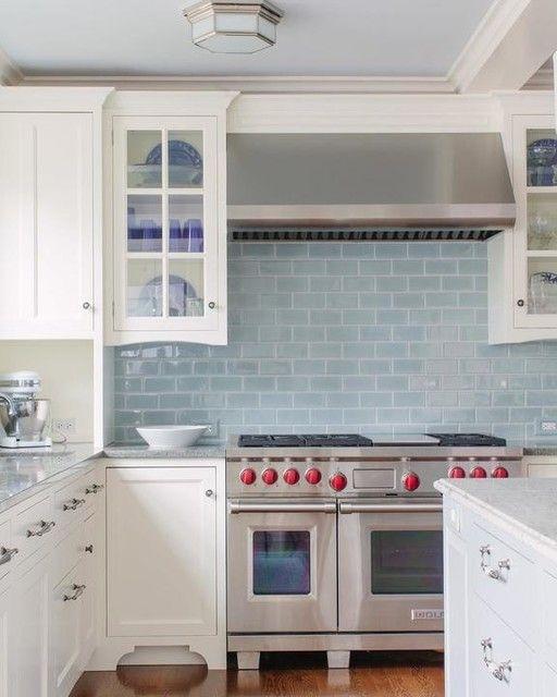 White Kitchen Cabinets With Light Blue Backsplash