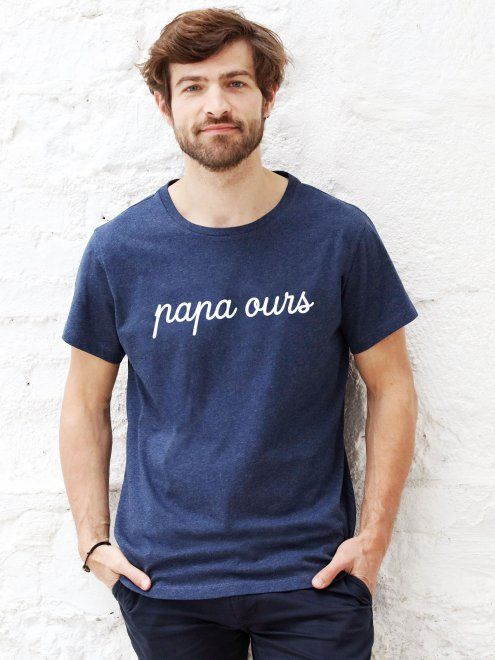 Le t-shirt Papa Ours - bleu chiné EMOI EMOI - Photo