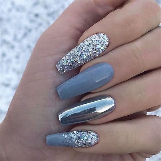 How To Apply Acrylic Nails At Home Tutorial 2020 Best Rated Merch In 2020 Blue Glitter Nails Glitter Nail Art Glam Nails