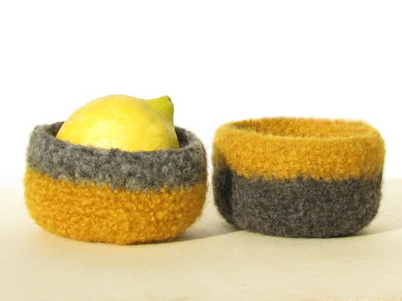Stripe Felted bowl - eco-friendly Organic  - mustard yellow and grey  - Set of two on Etsy, $35.00