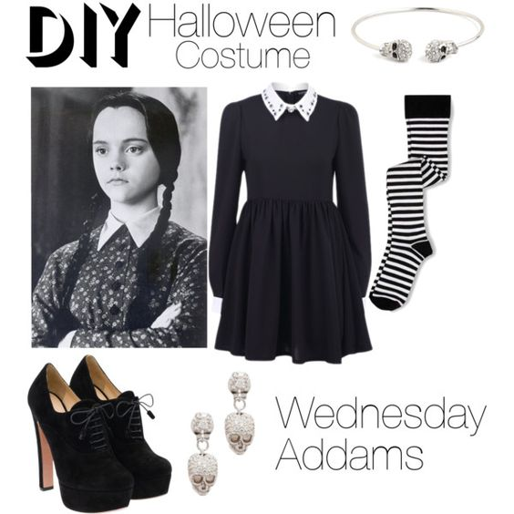 Wednesday Addams DIY Costume by patricia7 on Polyvore: