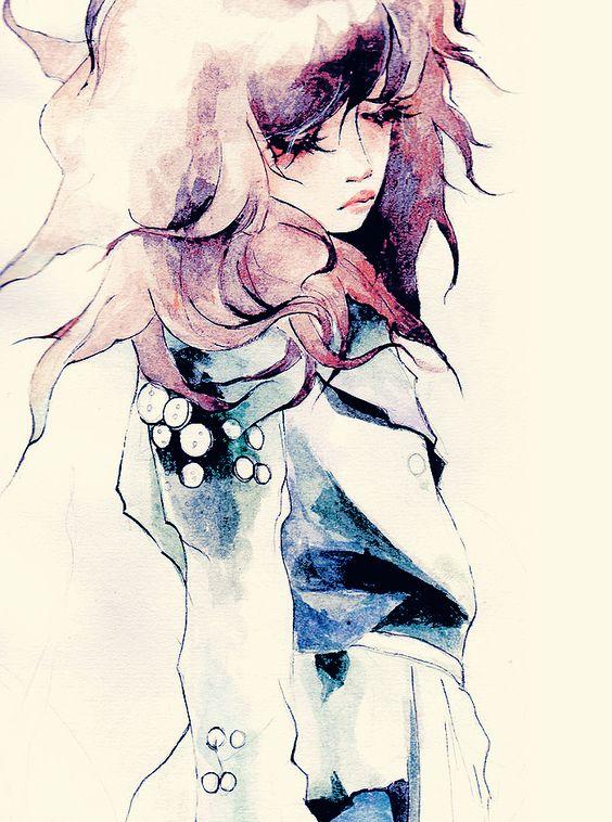 Line Art Watercolor : Grunge sketch simple line art sad girl in blue jacket