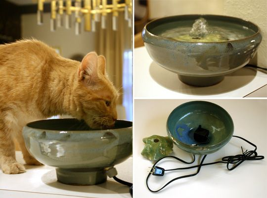 Ceramics handmade ceramic and cat drinking on pinterest for Diy cat water fountain