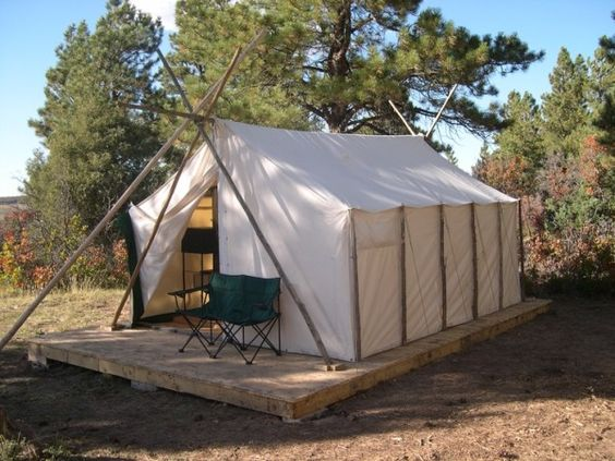 The o 39 jays summer and wall tent on pinterest for Tent platform construction