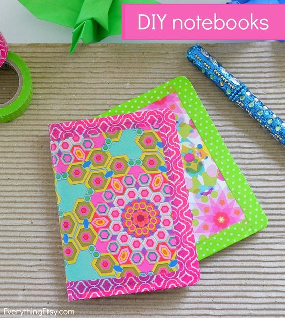 Colorful DIY Notebooks - Make them in minutes! EverythingEtsy.com #diy #backtoschool