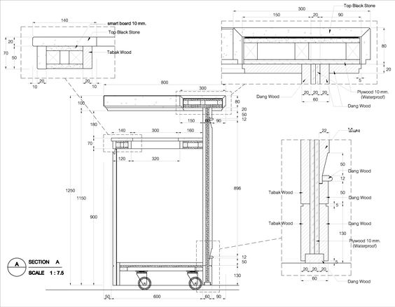 Bar counter detail drawing google search detale - Divanetti bar dwg ...