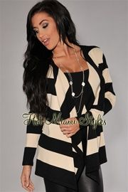 Black Cream Stripes Draped Front Sweater Cardigan      $44.99