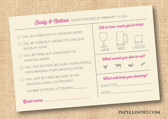 Funny wedding Mad Libs reply RSVP card digital file by PapelLindo