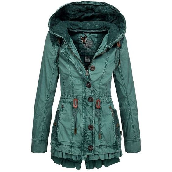 Khujo Damen Übergangsjacke Molly Damenjacke Übergangs Sommer Jacke... ❤ liked on Polyvore featuring outerwear, coats, jackets, green parka coat, green coat, parka coat e green parka