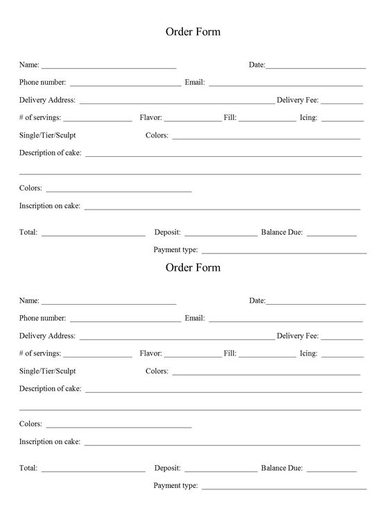 Blank order form to help keep track of orders Templates - blank order form template