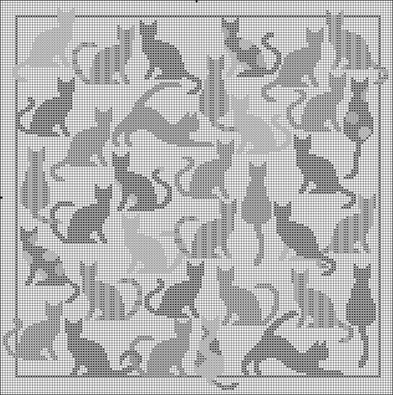 Curtains Ideas cat curtains kitchen : I'm gonna use some of these guys in a filet crochet pattern ...