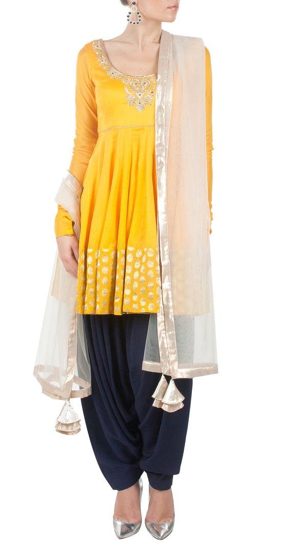 PAYAL SINGHAL - Yellow and blue embroidered kurta set http://www.perniaspopupshop.com/: