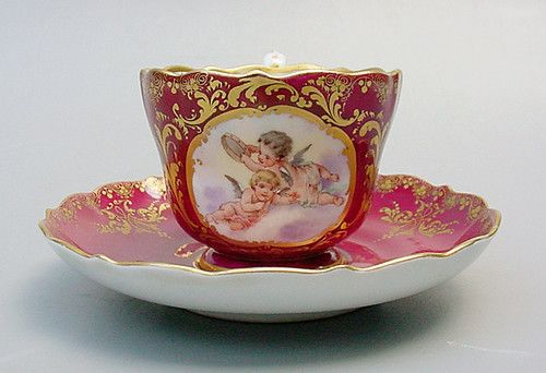 Meissen  Angels Cherubs Tea cup and saucer Red and Gold 1890