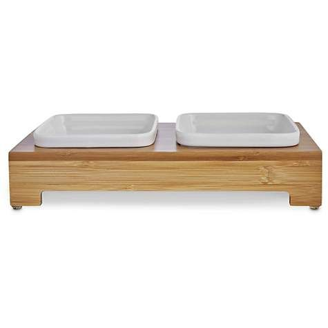 Harmony Bamboo Double Diner With Ceramic Dog Bowls Petco Ceramic Dog Bowl Dog Bowls Dog Store