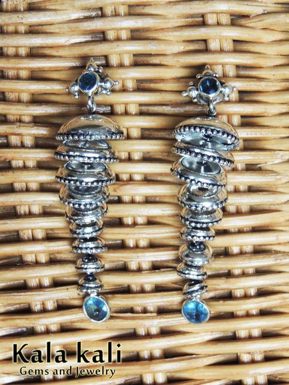 Daring Dangleling  65 MM Earrings Genuine Blue Faceted by KalaKali, €475.00