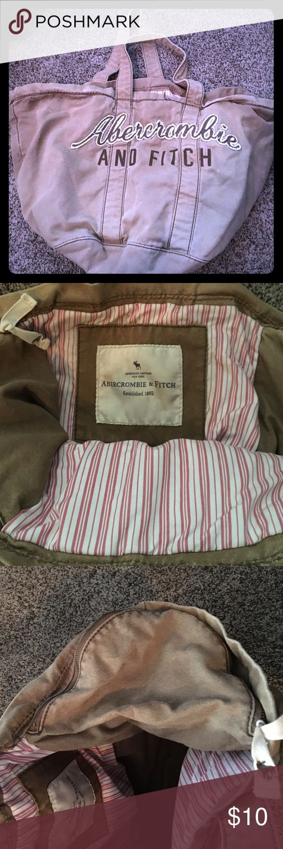 Abercrombie and Fitch Brown bag with two large side zipper pockets. Striped interior. Some small marks as pictured in photo 4 Abercrombie & Fitch Bags Totes