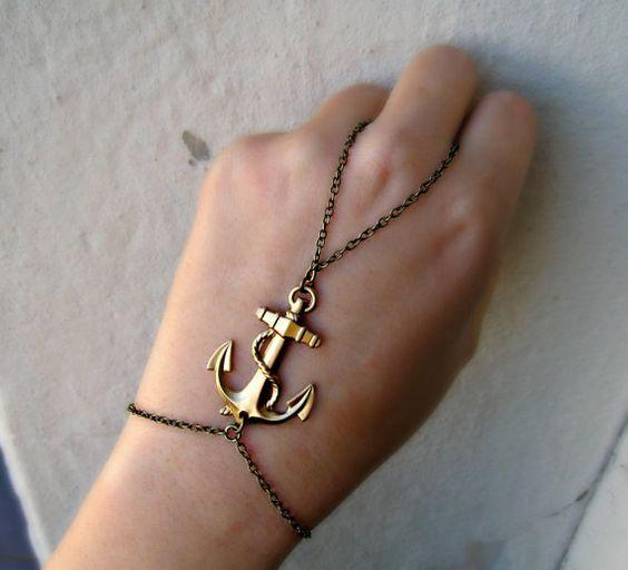 golden anchor slave bracelet by alapopjewelry