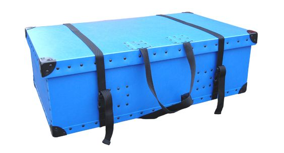 Blue transit case with straps