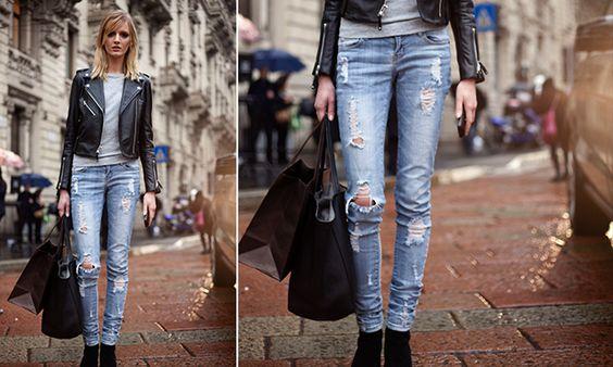 No embalo da moda: Novo jeans: calças mais curtas e navalhadas se fir...