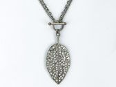"""Genuine crystal adjustable 18"""" or 36"""" Leaf pendant. Great with several types of outfits."""