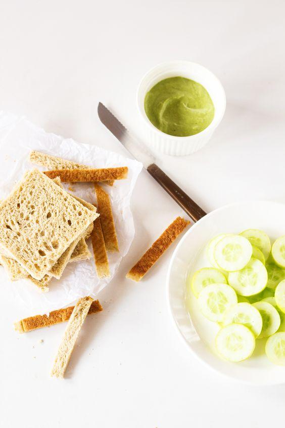 cucumber mint cream cheese sandwiches