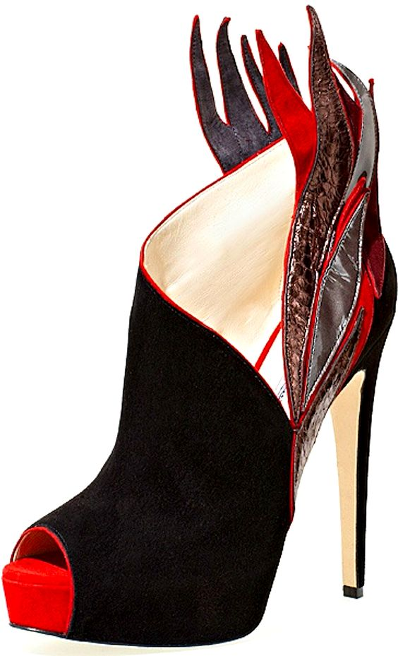 Brian Atwood - black, red, and silver heels (look like flames ...