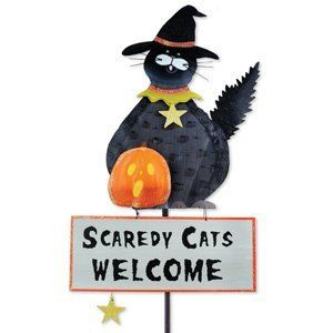 """Scaredy Cats Garden Stake by Garden Fun. $19.99. All Scaredy Cats will feel welcomed with this friendly black cat Halloween garden stake! Full of charming detail and Halloween spirit, our Scaredy Cat Garden Stake is made of metal and wood, and will make all your garden visitor feel courageous and safe through the fall holidays! Approx Size: 40"""" Tall x 10"""" Wide."""