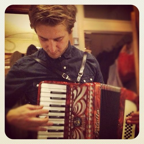 Arthur Darvill. With an accordion.