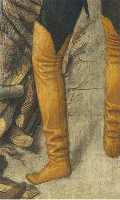 H. 1450-1455. San Vicente en la hoguera, Jaime Huguet, Retablo de San Vicente de Sarrià,  ©Museo Nacional de Arte de Cataluña, Barcelona (detalle):