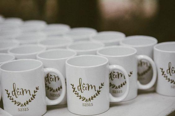 Mugs as wedding favors   Lena Peterson Photography