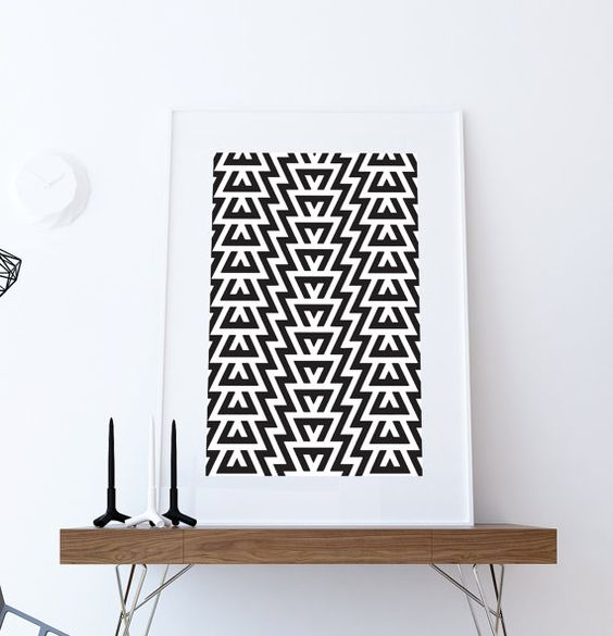 Mid Century Modern Geometric Pattern Vintage Retro Abstract Art Print Poster Giclee on Paper Canvas Wall Decor #midcenturymodern #midcentury #geometric #abstractprint #homeideas #handmade