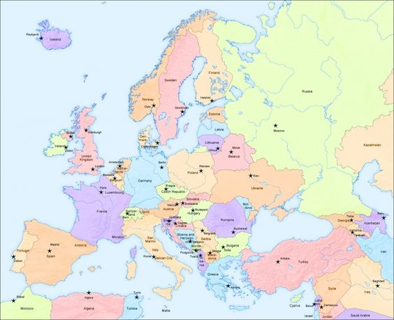 Big Map of Europe and capital cities Travel Europe – Travel Map Of Europe With Cities