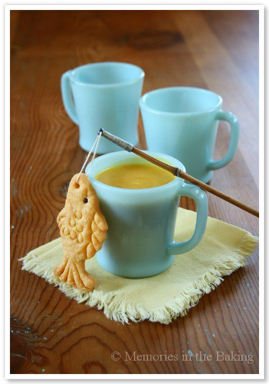 Butternut Squash and Pear Bisque. Recipe for both the bisque and the fish cracker.