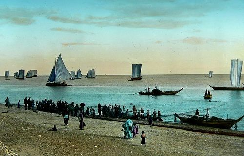 A FLOCK OF SAILS ALONG THE SHORE OF OLD JAPAN -- a.1900-10 Lantern-slide image by Kozaburo