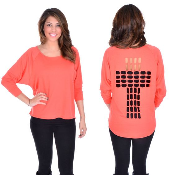 CROSS CUT OUT TOP IN CORAL