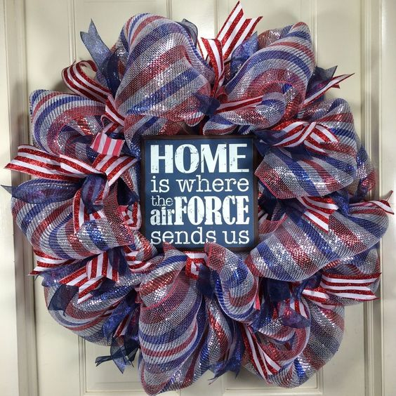 Hand Crafted Patriotic Air Force Wife Military Home Deco Mesh Wreath  #199 #DecoMesh