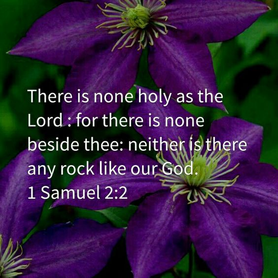 1Samuel 2:2 (KJV) There is none holy as the Lord: for there is none beside thee: neither is there any rock like our God.