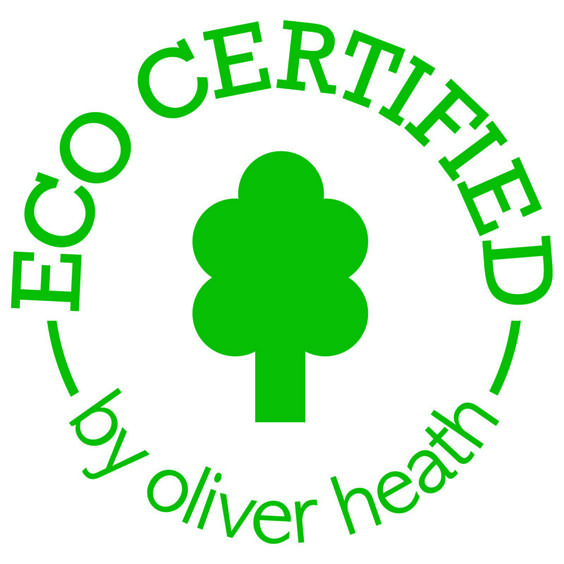 We've been Eco Certified, by Oliver Heath - rewarded for a brand that has outstanding environmental impact.