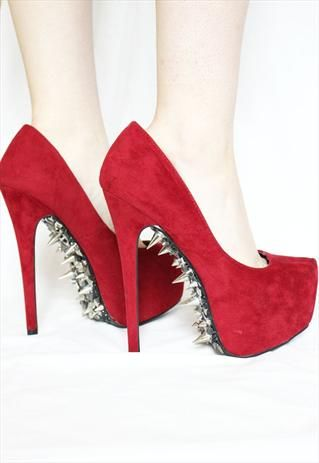 Red Customized Studded Heels  Hey guys! I found these awesome boards on Pinterest! They have everything you can think of - from dorms and recipes to fashion and fitness! Check them out: http://www.pinterest.com/studentrate/boards/