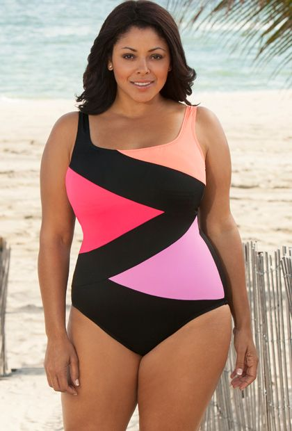 Beach Belle Intensity Plus Size Tricolor Spliced Swimsuit